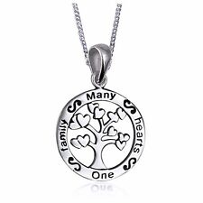 NEW Solid 925 Sterling Silver Family Tree One Family Many Hearts Pendant & Chain