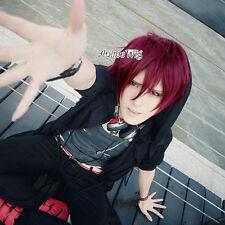 Free! Rin Matsuoka Dark Wine Red 30CM Short Anime Cosplay Wig + Wig Cap