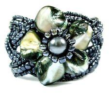 "Handmade 1.8"" Black Flower Mother of Pearl Beads Cuff Bracelet 6""-8"" Adj ; BA275"