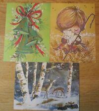 3 Vintage 1960's Christmas Postcards Shepard Boy w Lamb, Bells Deer in Woods Nos