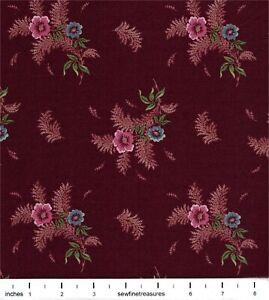 Plantation circa 1800's Floral Bouquet Maroon Ro Gregg Vintage Fabric FQ 1/4 YD