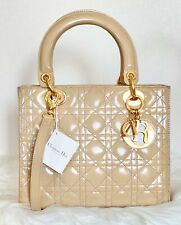 CHRISTIAN DIOR Patent Leather Cannage Medium Lady Dior Beige / M550-F243
