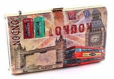 NEW CITY OF LONDON BROWN MAGAZINE COVER FASHION CLUTCH PURSE HANDBAG