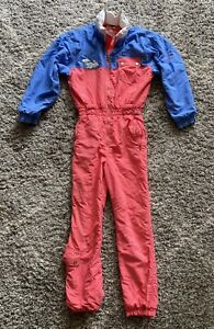 Vintage Mountain Goat Ladies One Piece Ski Suit / Snowsuit Size 8 Polar Bear