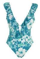 Michael Michael Kors Teal White Ruffled One-Piece Swimsuit 6