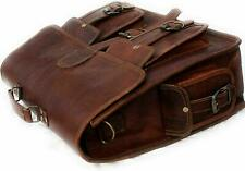 Extra Large Vintage Brown Leather Messenger Bag Shoulder Laptop Office Briefcase