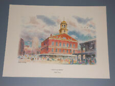 """VINTAGE RALPH AVERY """"CRADLE OF LIBERTY"""" PRINT FANEUIL HALL IN BOSTON"""