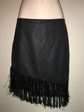 Express Fringe Skirt Faux Leather Black Womens Size 6 NWT