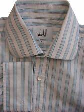 DUNHILL Camicia Da Uomo 15 S Bianco – Strisce Blu Chiaro
