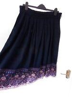 ❤ M&CO Ladies Size 14 Ink Navy Blue Pink Trim Boho Skirt Pockets NEW RRP £26!
