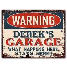 PPFG0163 WARNING DEREK'S GARAGE Tin Chic Sign Home man cave Decor Funny Gift