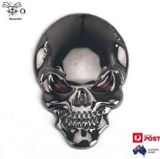 3D Skull Bone Gum Metal Grey Red Eyes Metal Car Motorbike Emblem Badge Sticker