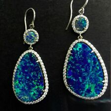Silver blue Fire Artificial Opal Tear Dangle Drop Hook Women's Earrings gift