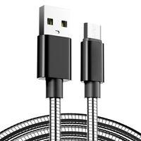 2M Stainless Steel Micro USB Fast Charger Data Sync Charging Cable Lead Wire