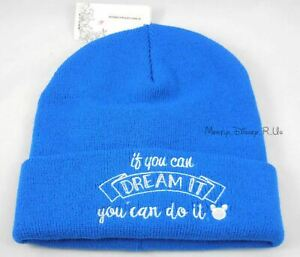 New Disney Quote You Can Dream It Do It Embroidered Logo Knit Beanie Hat Ski Cap