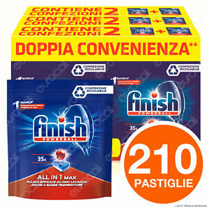 210 Pastiglie Lavastoviglie Detersivo Finish Powerball Regular AIO All in 1 Max