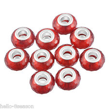 10PCs Red Christmas Charms Beads European Bracelet Jewelry Accessories 14mm