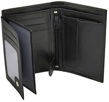 Mens Soft Black Leather Wallet With ID Window, Zip And Coin Pocket 503