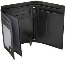 Para Hombre Para Cartera de Cuero Suave de Bloqueo de RFID, ventana ID, cierre de cremallera y bolsillo para monedas 503 Negro