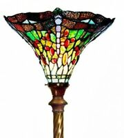Tiffany-style Green Dragonfly Torchiere Floor Lamp Light Fixture