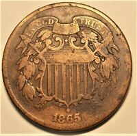 1865 Good  Two Cent Piece  (13,640,000 Minted)
