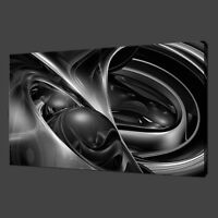 MODERN DESIGN SILVER CHROME ABSTRACT SWIRL BOX CANVAS PRINT WALL ART PICTURE