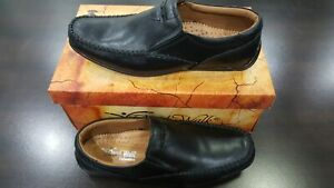Mens Black Leather Slip On Shoes Casual Formal Work Office School (A-D-1)