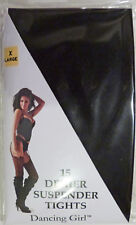 """Dancing Girl XL Size Black 15 Denier Suspender Tights to fit hips up to 54"""""""