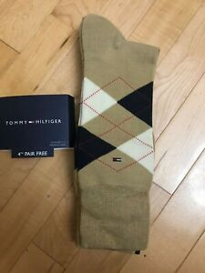 NWT Tommy Hilfiger Men's Tan/Brown Combed Cotton Dress Socks 4-Pack Size 7-12