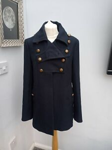 French Connection Navy Military Style Wool Blend Coat Size 12 Steampunk Winter