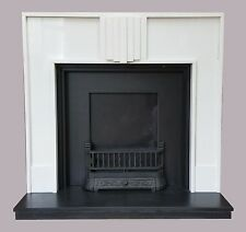 Reproduction Art Deco Fireplace White Marble Surround With Slate Back & Hearth