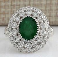 3.09 Carat Natural Emerald 14K White Gold Diamond Ring