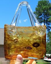 """8"""" MURANO ART GLASS BASKET Brown Amber Clear Gold Glitter Accents Vintage Vtg"""