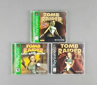 Tomb Raider 1, 2 & The Last Revelation (Sony PlayStation 1 PS1) Eidos 3 Game Lot
