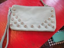Xhilaration mint green with silver skulls clutch bag purse