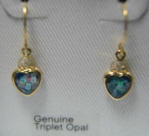 NIB Solid 14k yellow gold Genuine Mosaic Triplet Opal pierced dangle earrings