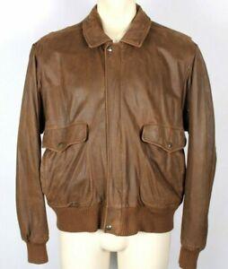 Vintage Saks Fifth Avenue Mens Brown Suede Leather Bomber Jacket Sz 42