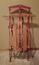 "Vintage Wood & Steel Flexible Flyer III Snow Sled 40""  Nice Shape! Sit Down Sled"