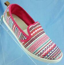 Sanuk Brook TX Pink Raspberry Lanai Blanket Canvas Vegan Loafer Women's Shoe 8.5