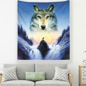 3D Waterfall Wolf A208 Tapestry Hanging Cloth Hang Wallpaper Mural Photo Zoe