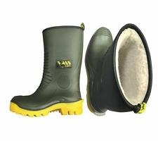 Vass Tex Fishing Fleece Lined Wellie Short Waterproof R Boot Welly UK 9 Non Studded