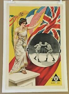 GREAT GLOVE FIGHT (1900) Earliest Known Boxing-Themed Movie Poster Williamson UK