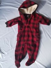 Baby Gap 3 6 Month Boy Hooded Footed Fleece Snowsuit Buffalo Plaid Red Brown EUC