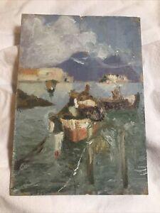 Vintage Original Art Oil Painting on Cardboard nautical seascape