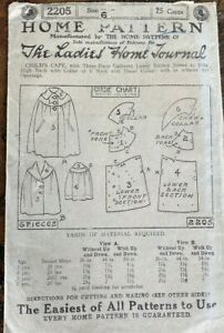 Antique 1900s Ladies Home Journal pattern 2205 Childs Cape Sz 6
