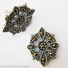 Gorgeous Solid Sterling Silver ornate stud earrings with genuine Marcasites