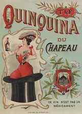 """QUINQUINA DU CHAPEAU / T & F"" Etiquette-chromo originale fin 1800"