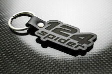 Handmade Leather Keychain Keyring for FIAT 124 Spider (Logo)