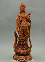Collect China boxwood Hand carved Buddhism Guanyin Kwan-yin goddess statue