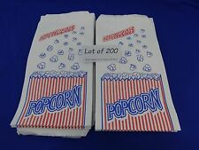 "Qty 200 Popcorn Snack Sacks 1.5 oz Paper Bags Concession supplies 3.5"" x 2"" x 8"""